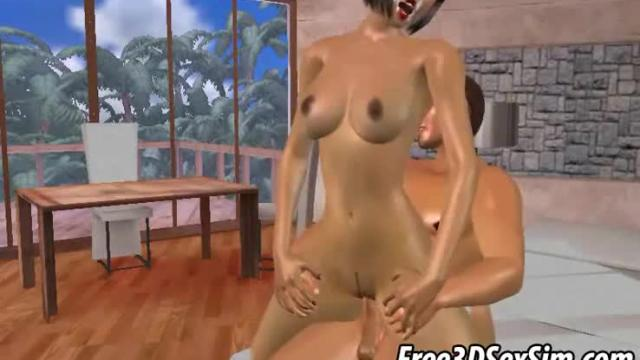 Two sexy 3d babes sharing a studs rock hard penis